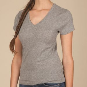Women's 1x1 Baby Rib V-Neck T-Shirt Thumbnail