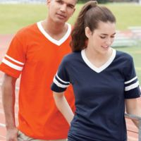 V-Neck Jersey with Striped Sleeves Thumbnail