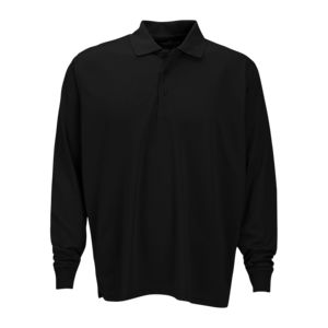 Vansport™ Omega Long Sleeve Solid Mesh Tech Polo Thumbnail