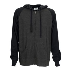 Full-Zip Two-Tone Jersey Knit Hoodie Thumbnail