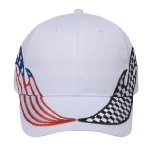OTTO United States Flag Racing Flame Pattern Brushed Cotton Twill Six Panel Low Profile Baseball Cap Thumbnail