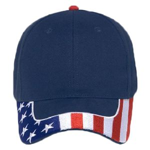 OTTO United States Flag Pattern Visor Brushed Cotton Twill Six Panel Low Profile Baseball Cap Thumbnail