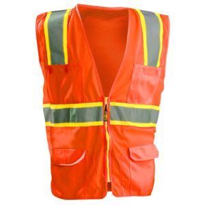 Men's High Visibility Classic Two-Tone Surveyor Safety Mesh Vest Thumbnail