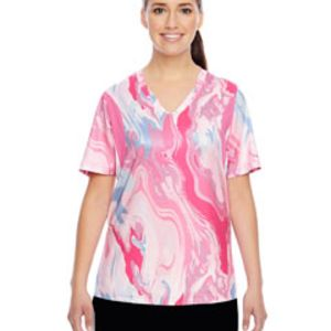 Ladies' Short-Sleeve V-Neck Tournament Sublimated Pink Swirl Jersey Thumbnail