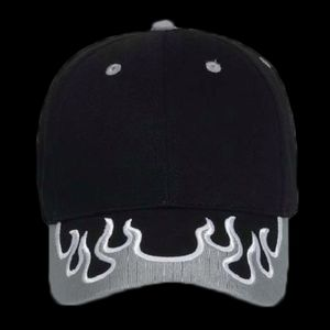 OTTO Flame Pattern Visor Brushed Cotton Twill Six Panel Low Profile Baseball Cap Thumbnail
