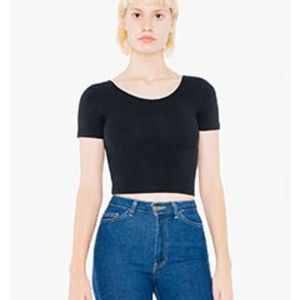 Ladies' Cotton Spandex Short-Sleeve Crop Top Thumbnail