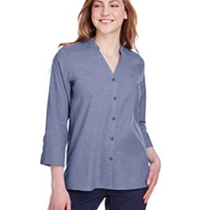 Ladies' Crown Collection™ Stretch Pinpoint Chambray 3/4 Sleeve Blouse Thumbnail